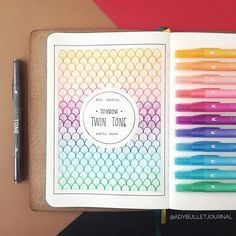 "5,231 Likes, 35 Comments - Tombow USA (@tombowusa) on Instagram: ""Obsessed with how @adybulletjournal swatched our Pastel set of TwinTone Dual Tip Markers in her…"" Bullet Journal Mois, My Journal, Journal Pages, Bullet Journal Themes, Bullet Journal Layout, Bullet Journal Inspiration, Bullet Journal Front Page, Bullet Journals, Bullet Journal Comment"