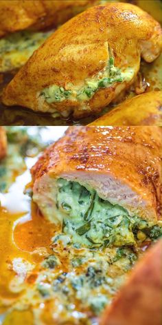 Spinach Stuffed Chicken - COOKTORIA'S VIDEO RECIPES - This will become your favorite chicken breast recipe. Not only because it's super simple, but bec - Quick Dinner Recipes, Quick Meals, Dinner Healthy, Lunch Recipes, Spinach Stuffed Chicken, Stuffed Chicken Recipes, Roast Chicken Breast Recipes, Simple Chicken Recipes, Italian Stuffed Chicken