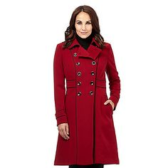 Add a splash of colour to your winter wardrobe with this classic military style coat from our exclusive Principles by Ben de Lisi designer range. In dark red, it features a black trim with a double button design across the front panel and two side pockets.