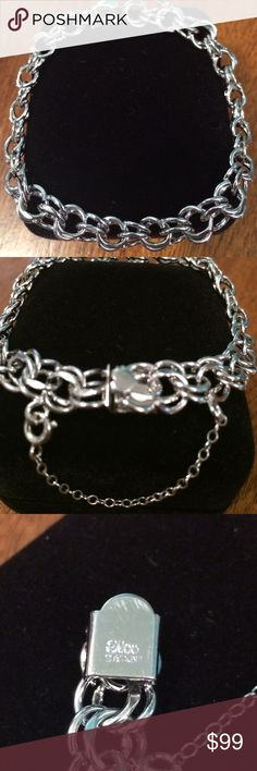 """Elco sterling silver double link charm bracelet Elco sterling silver double link charm bracelet with push lock and safety chain. 7"""" long and so beautiful!! Very heavy and can take the weight of many charms. Elco Jewelry Bracelets"""