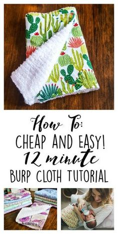 baby diy I never imagined I had everything already laying around the house to make these! How to: Cheap and Easy 12 Minute Baby Burp Cloth Tutorial - DIY Quilt Baby, Baby Quilts Easy, Baby Sewing Projects, Sewing Crafts, Baby Sewing Tutorials, Quilt Tutorials, Sewing Tips, Sewing Ideas, Dress Tutorials
