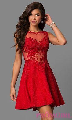 JVNX by Jovani Short Red A-Line Lace Party Dress