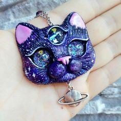 Galaxy Saturn Cat Necklace