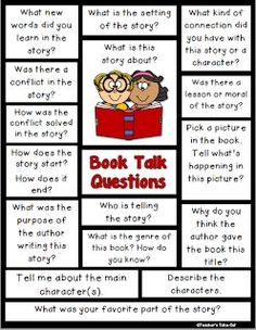 Book Talk Questions to help talk about books.