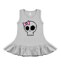 Girly Skull White Sleeveless Dress - punk, funny and alternative baby onesies and toddler clothes by My Baby Rocks