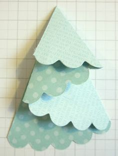 #tutorial for making paper tree out of half a die cut scalloped circle - looks easy!