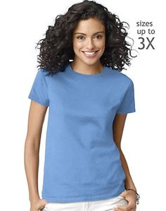 These Hanes t-shirts for women are the ultimate tee for comfort, and made just for a woman's shape.      Soft, pure, breathable cotton knit.     Relaxed fit, but never boxy.     ComfortSoft cotton is specially treated for incredible softness.     Great blank t-shirts making them great for printing.