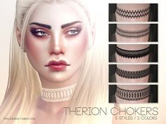 Sims 4 CC's - The Best: Therion Chokers by Pralinesims