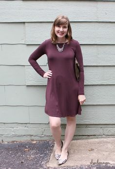 burgundy dress with snakeskin flats and statement necklace | www.shealennon.com