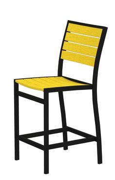 Polywood A101FABLE Euro Counter Side Chair in Textured Black Aluminum Frame / Lemon