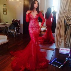 Find More Prom Dresses Information about Elegant Red Saudi Arabia long sleeve 2016 Mermaid Evening Gowns Sexy deep v neck Lace Appliques Prom Dresses vestidos,High Quality gown shawl,China dress shirt sewing pattern Suppliers, Cheap dress clothes for infants from Kingshow Bridal on Aliexpress.com