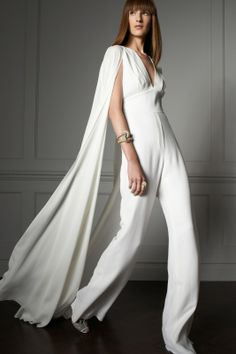 Amazing white bootleg jumpsuit with a floor-length cape