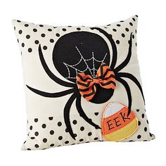 Add a little Halloween spirit to any space with our Black Bow Spider Pillow! Its stitched spider webbing is sure to catch the eye of any ghost or ghoul! Cute Halloween Food, Halloween Arts And Crafts, Halloween Sewing, Halloween Fashion, Halloween Projects, Fall Halloween, Halloween Stuff, Halloween Decorations Apartment, Scary Halloween Decorations