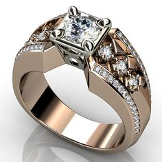 Custom made pieces of jewelry - images are computer generated. Custom made pieces of jewelry - images are computer generated. Unique Diamond Rings, Unique Rings, Beautiful Rings, Mens Diamond Jewelry, Gents Ring, Men's Jewelry Rings, Jewellery, Bridal Ring Sets, Ring Designs