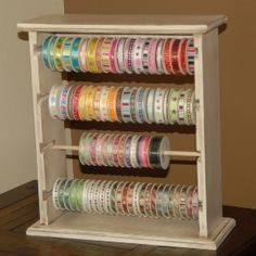 Large Painted Ribbon Organizer / Ribbon Rack / Ribbon Storage   Holds 100  Spools   Choose Your Paint Color