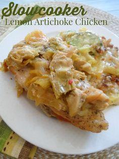 Slowcooker Lemon Artichoke Chicken ~ 1 jar Marinated Artichokes • 1 Onion, sliced • 1T Minced Garlic • 1C White Wine • 2 Lemons • 1 whole Chicken, 4 boneless Breasts, or bone-in parts ~ Put artichokes w juice in crock pot. Layer onion, garlic. Squeeze 1 lemon over. Add wine. Put chx on top. S & P. Squeeze other lemon on top. Cook 6hr low or 4hr hi
