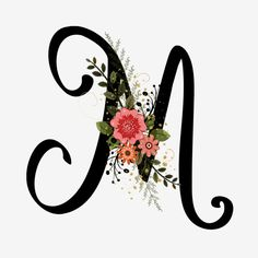 Alphabet Floral M With Flowers And Leaves Frame Floral, Floral Letters, Cute Wallpaper Backgrounds, Cute Wallpapers, Leaf Font, Alphabet Wallpaper, Monogram Wallpaper, Letter Art, Alphabet Letters