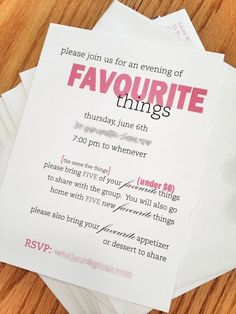 A Favorite Things Party