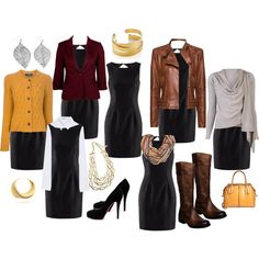 Great fall capsule with your LBD - tho I'd swap out the yellow cardi and bag with purple. Business Travel Outfits, Fall Capsule, Great Falls, Lbd, Capsule Wardrobe, Beautiful Outfits, Yellow, Career, Packing