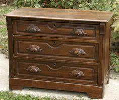 Antique Victorian Eastlake Dresser with Hand Carved Leaf Drawer Pulls | eBay