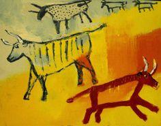 Cave Paintings Outsider T Marie Nolan Raw Folk Art Brut Original Painting | eBay