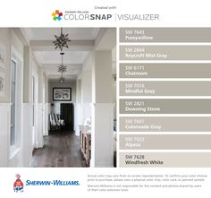I found these colors with ColorSnap® Visualizer for iPhone by Sherwin-Williams: Pussywillow (SW 7643), Roycroft Mist Gray (SW 2844), Chatroom (SW 6171), Mindful Gray (SW 7016), Downing Stone (SW 2821), Colonnade Gray (SW 7641), Alpaca (SW 7022), Windfresh White (SW 7628).