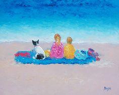 Sunday at the Beach  #kidswallart #kidsroomdecor #nurserydecor #nurserywallart #beachpaintings #coastaldecor