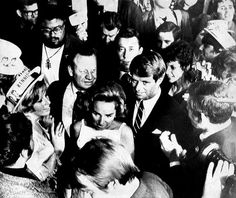 June 5, 1968: Ethel and Robert Kennedy leave the stage in the Ambassador Hotel and head for the kitchen to leave and attend a party at a disco.