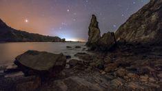 Spotlight, Spain, Coast, Ocean, Sky, Landscape, Night, Beach, Water