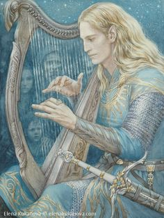 Finrod.  First encounter with Edain by ekukanova Silmarillion Tolkien harp sword elf bard minstrel musician knight armor clothes clothing fashion player character npc | Create your own roleplaying game material w/ RPG Bard: www.rpgbard.com | Writing inspiration for Dungeons and Dragons DND D&D Pathfinder PFRPG Warhammer 40k Star Wars Shadowrun Call of Cthulhu Lord of the Rings LoTR + d20 fantasy science fiction scifi horror design | Not Trusty Sword art: click artwork for source