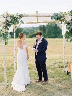 Naomi + Sean at Panorama Farms - Charlottesville Virginia Wedding @floraldesignva - flowers, Kate Ignatowski Photography - photos, Ashley Baber Weddings - planner. Wedding #Chuppah (#Arbor) inspiration. Ceremony decor