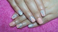Pastel pink and white nails with dots by Valkira - Nail Art Gallery nailartgallery.nailsmag.com by Nails Magazine www.nailsmag.com #nailart