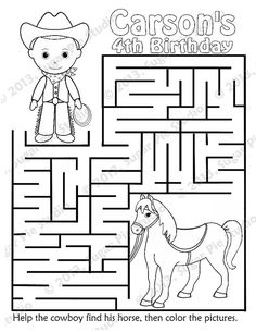 Personalized Printable Cowboy Horse Birthday Party Favor childrens ...