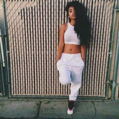 All white. Dope fashion looks for girls. Tomboy Fashion, Dope Fashion, Fashion Killa, Urban Fashion, Teen Fashion, Fashion Outfits, Womens Fashion, Fashion Trends, Fashion Pants