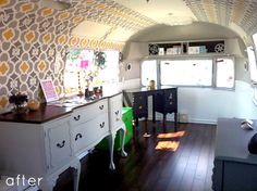 interior of airstream after remodel.  Ida uses this as a showroom for renovated furniture that she sells