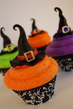 last pinner wrote colorful halloween witch hat cupcakes these are chocolate fudge cupcakes with tinted buttercream icing hats are made of marshmallow - Fast And Easy Halloween Treats