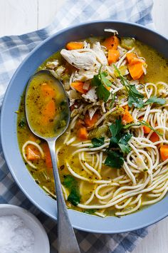 Easy chicken noodle soup Using leftover or rotisserie chicken makes this chicken noodle soup super easy and perfect for days when you need home-made comfort in a bowl. Best Soup Recipes, Healthy Soup Recipes, Easy Chicken Recipes, Healthy Chicken, Dinner Recipes, Chili Recipes, Easy Recipes, Copycat Recipes, Healthy Food