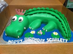 alligator cakes for kids | princess alligator — Children's Birthday Cakes