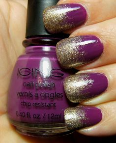 Purple with glitter fade nails
