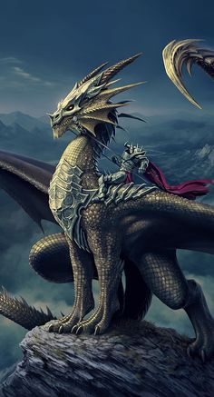 5/26/15 10:37a Dragon on Mountain Top Tiny Metal Rider via deligaris.deviantart.com