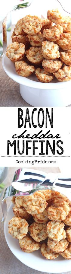 These bite sized savory muffins are packed with bacon and cheddar cheese. Perfect for breakfast, brunch, or snacking in between.