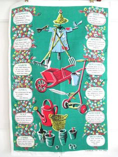 Vintage Tea Towel Garden Planting Calendar at NeatoKeen on Etsy