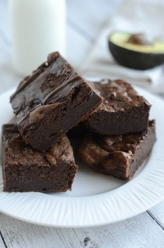 Avocado Brownies - fudgy and delicious brownies made with absolutely no butter or oil! You won't believe how delicious these brownies are! AD AlwaysInSeason