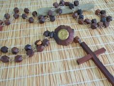 Vintage wall rosary in wood large 72 long wooden by GraceYourNest
