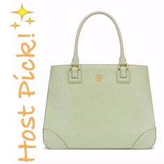 "✨NWT✨ Tory Burch Robinson Tote Mint Julep NWT! Tory Burch Robinson tote in Mint Julep. Saffiano leather. Gold hardware. Protective feet at bottom. Multiple flat and zip interior pockets. 16.5""Lx4.75""Wx12.5""H. ***NO TRADES*** Tory Burch Bags Totes"