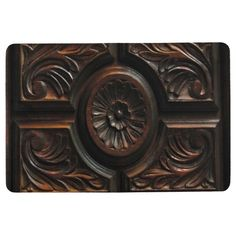 Brown Wood Carving Image Floor Mat