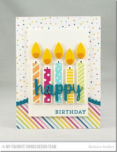 21 Jan 2017 : Paper Pursuits : I'm using Make a Wish Stamp Set and Make a Wish Die-namics for the candles and stamped sentiment—all ink and card stock colors are listed below. The horizontal element was cut with Stitched Basic Edges 2 Die-namics and Stitched Scallop Basic Edges 2 Die-namics, using Sweet Celebration Paper Pack and Tropical Teal card stock.