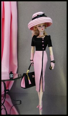 """Dress/outfit for silkstone, fashion royalty, vintage barbie, poppy parker. (with all smooth non-rubbery legs 11""""-12"""" barbie doll) --- doll and stockings, shoes, dress form and diorama accessories are not included."""