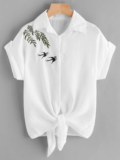 Embroidered Tie Hem Shirt