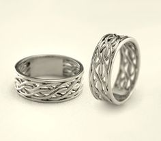 Matching engagement rings Weaving wedding bands Couple